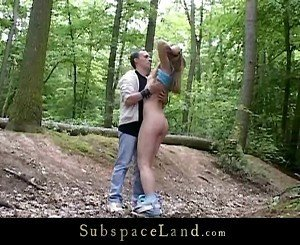 Kinky bondage fantasy accomplished in the woods