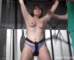 Teen bdsm of chubby amateur slave Louise in hardcore spanking and merciless dungeon punishments to tears
