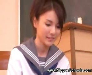 Naughty asian teen toying teacher