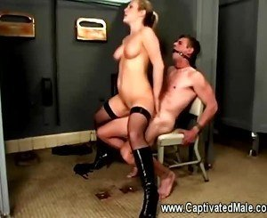 Harmony riding ball gagged slaves cock in the bathroom