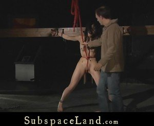 Rough punishment and torture for a slutty brunette slave