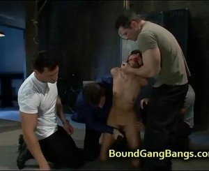 Brunette hottie tied up and orgy fucked