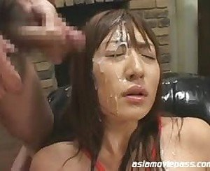 Japanese babe cum covered
