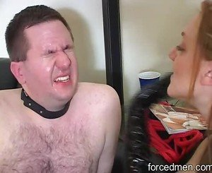 Mistress slaps pathetic slave continuously on the face
