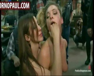 Girl gets gangbanged in biker bar
