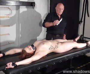 Amateur slave Louise in dungeon rack bondage and hot wax tit punishments of chubby private submissive