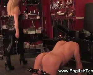 Domina masters a cock with electrosex