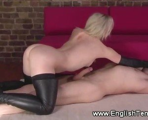 Domina in boots treats hersel to cock