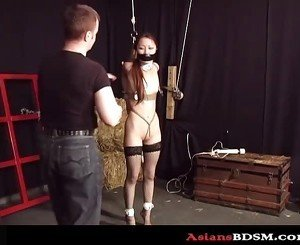 Sweet Asian chick hogtied and loving it p2