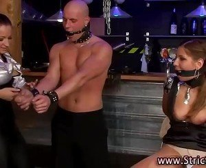 Angry domina rules over bound victims