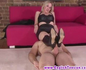 FEMDOM british MILF in sexy outfit makes dude bootworship