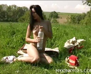 Outdoor Girl With Dildo