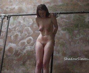 Filthy dungeon whipping and private bdsm of skinny amateur slave in harsh hellpain breast spanking and strict bondage