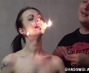 Gruesome fire torture of Emily X in extreme dungeon domination and merciless bdsm of crying slaveslut in burning punishments