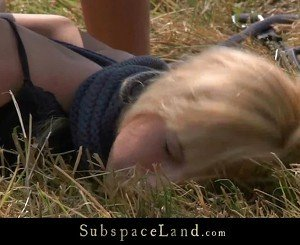 Blonde bound and fucked in the open field