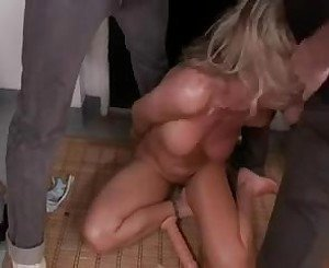 BDSM gangbang with hot blonde cougar