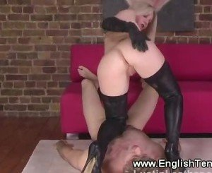 Blonde femdom queens her subject while in her lether boots