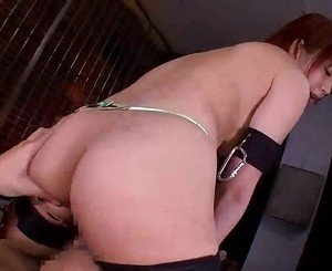 Hot bondage in cage