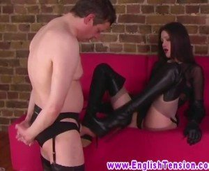Euro brunette MILF makes dude worship her boots