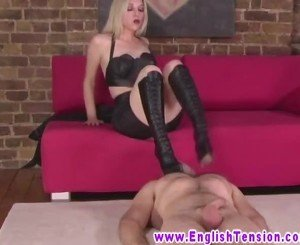 FEMDOM english MILF jams heels into masturbating sub