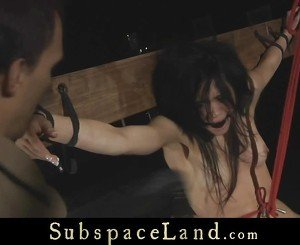 Brunette bitch harsh punished in suspension