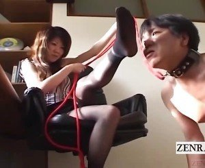 Subtitled Japanese femdom foot worship by man on a leash