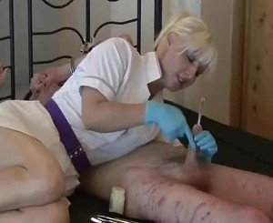 Mistress Nurse uses  sounds on her bound