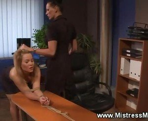Subject kisses feet the gets spanked by femdom