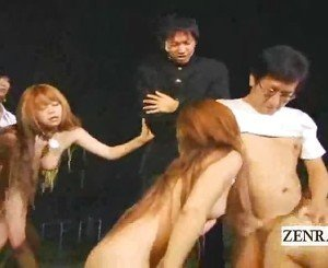 Weird Kinky Japanese BDSM Slaves In Outside Moonlight Orgy