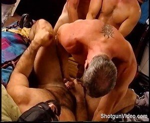 3 hot Muscle studs in a daisy chain CBT session where one good turn deserves another.