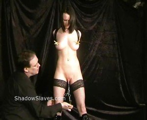 Pussy punished Emily Sharpe in extreme bdsm and suffering slaveslut nipple clamped in the dungeon