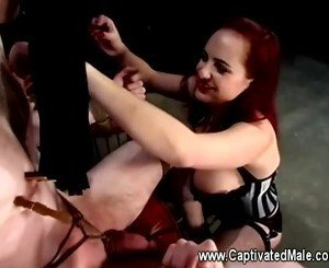 Berlin flogging and clamping her slave all over his sorry ass body