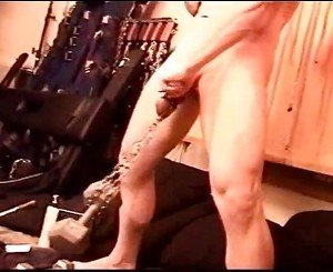 Self CBT intense and non stop intensifying SELF CBT, muscle boy hangs 40lb then 50lbs from his balls