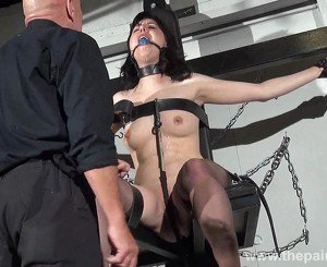 Feet whipping and bastinado of tied Honesty Cabellero in foot spanking and dungeon bdsm with brunette submissive