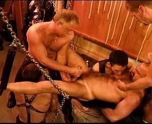 Five man sensual CBT BDSM orgy featuring bears and otters with cum.