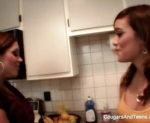 Busty MILF teaches young brunette how to cook & then some