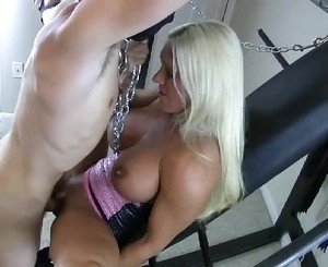 Ashley gets her masked slave to fuck her pussy