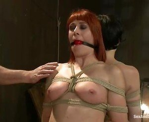 Sizzling babes get tied up & tormented together