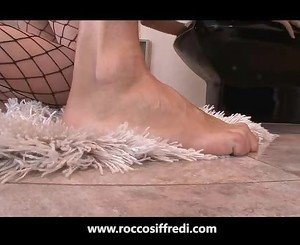 Hot Girl In Fishnets Gets Treated Like a Dog by Rocco