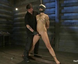 Sizzling Dylan Ryan is tied up & her wet snatch toyed