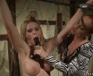 Katy Borman crams this dildo down this sluts throat