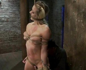 Holly a lusty bondaged lover gets abuse with ropes on her cur...