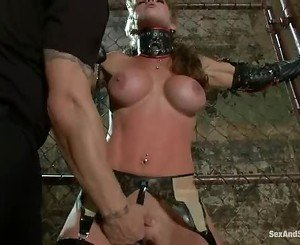 Felony gets bound to the fence and has a machine toy her till...