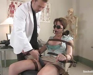 Lovely bitch getting her shaved pussy banged by a big throbbi...