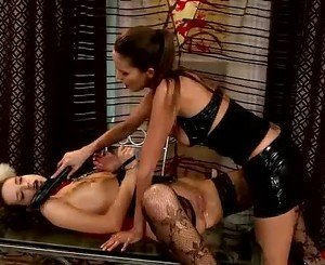 Bound whore takes a massive dildo deep in her snatch