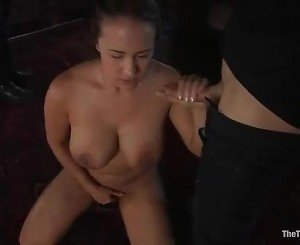 Stupid slut is made to give hand job as she fingers her love...