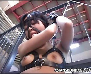 Asian bitch roped up and given water to drink