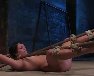 Sex slave Thea Marie tied spread eagle with a vacuum pump att...