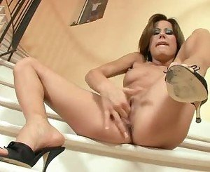 Anita Pearl Have A Hard Finger Blast At The Stairs