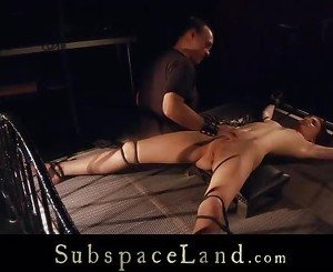 Subgirl tied on bondage bed pussy whipped and toyed